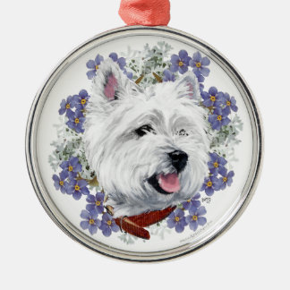 Westie Forget Me Not Christmas Ornament