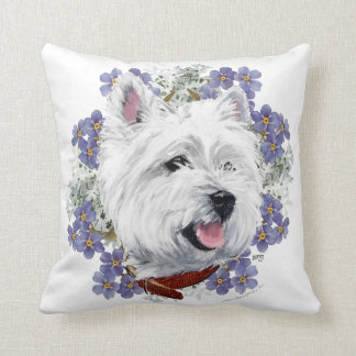 Westie Forget Me Not Cushion