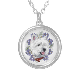 Westie Forget Me Not Round Pendant Necklace