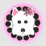 Westie Girl Round Stickers