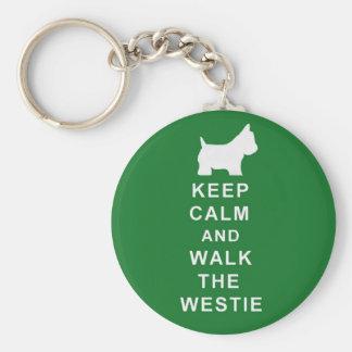 Westie green keyring birthday christmas present basic round button key ring