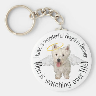 Westie Guardian Angels Basic Round Button Key Ring