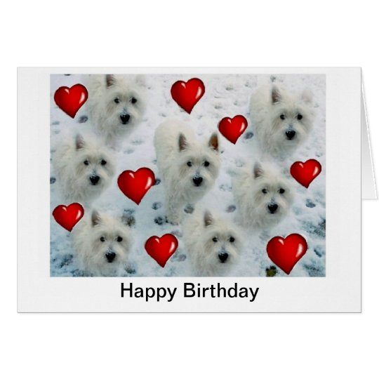 Westie Hearts Birthday Card