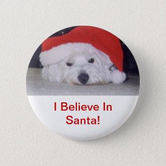 Westie in a Santa Hat 6 Cm Round Badge