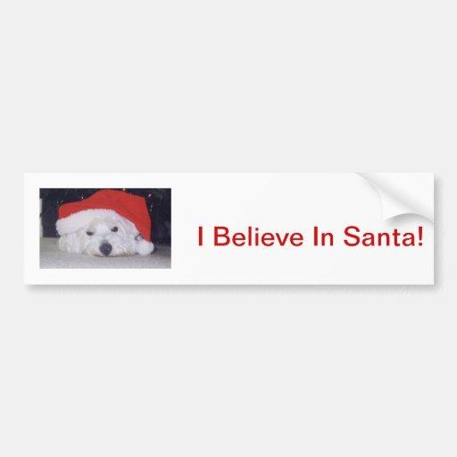 Westie in a Santa Hat Car Bumper Sticker