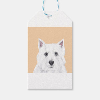Westie in pink gift tags