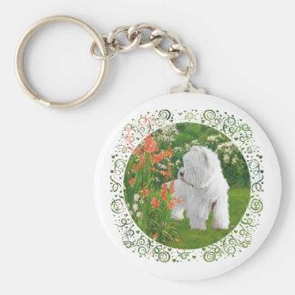 Westie in the Garden Basic Round Button Key Ring