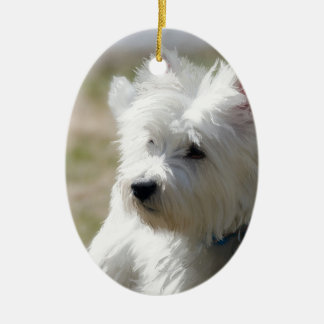 Westie in the springtime christmas ornament