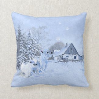 Westie in Wintertime PILLOW