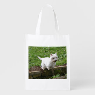 westie jumping.png reusable grocery bag