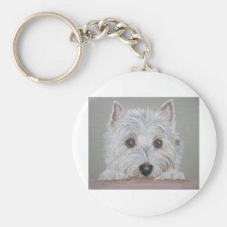 Westie Basic Round Button Key Ring