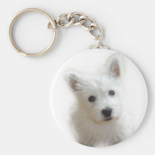 Westie Key ring Basic Round Button Key Ring