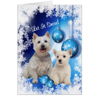 Westie Let It Snow Holiday Greeting - Customizable Greeting Card