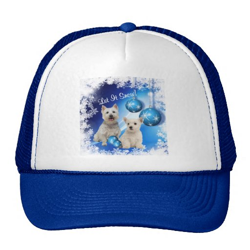 Westie Let It Snow Holiday Greeting Mesh Hat