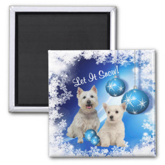 Westie Let It Snow Holiday Greeting Magnet