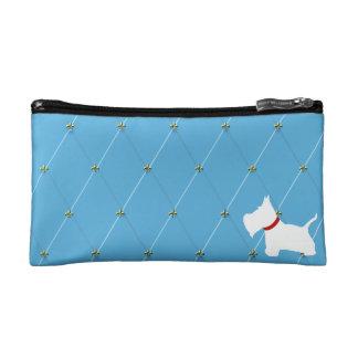 Westie Light Blue Diamonds Makeup Bag