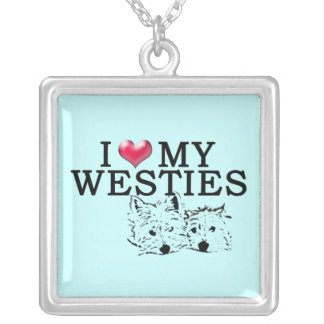 Westie Love in Blue Square Pendant Necklace