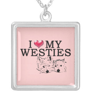 Westie Love in Pink Square Pendant Necklace