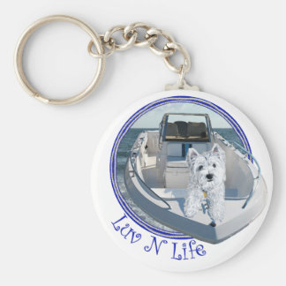 Westie Luv N Life on a Boat Basic Round Button Key Ring