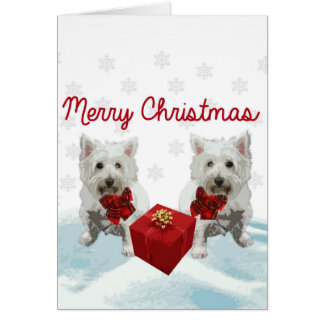 Westie Merry Christmas White Dogs Card