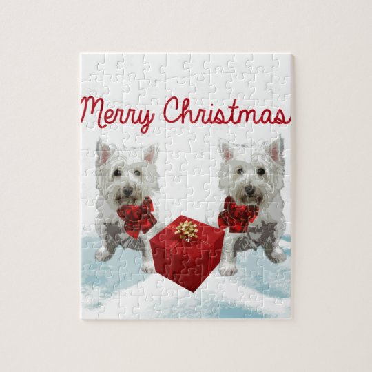 Westie Merry Christmas White Dogs Jigsaw Puzzle