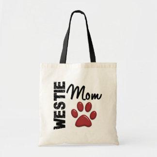 Westie Mom Paw Print 2 Budget Tote Bag