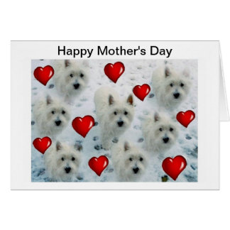 Westie Mother's Day Card Mum mummy nana wife
