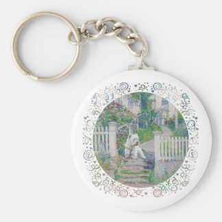 Westie on Guard Basic Round Button Key Ring