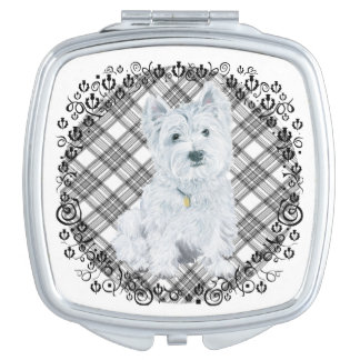 Westie on Tartan Compact Mirror