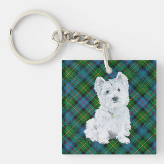 Westie on Tartan Double-Sided Square Acrylic Key Ring