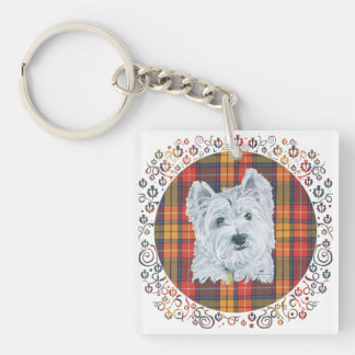 Westie on Tartan Square Acrylic Keychain