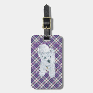 Westie on Tartan Tags For Luggage