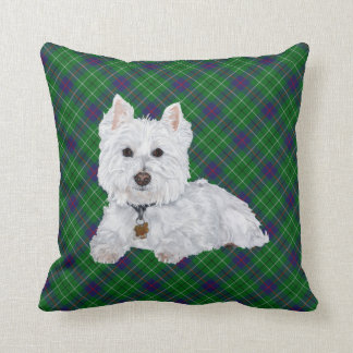 Westie on Tartan PILLOW