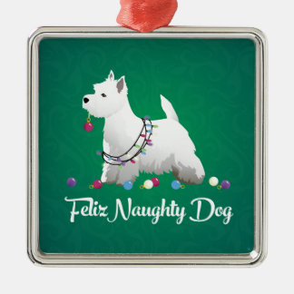 Westie or West Highland Terrier Feliz Naughty Dog Silver-Colored Square Decoration