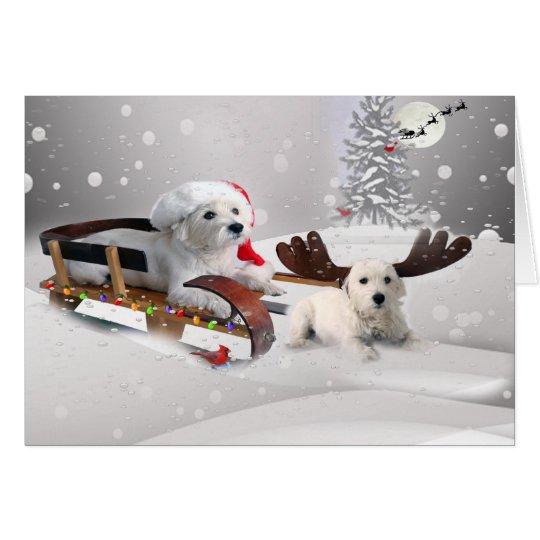 Westie Pals Enjoy Christmas Day Sledding Card