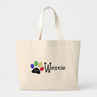 Westie Paw Print Digital Art Canvas Bag