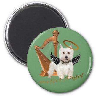 Westie Perfect Angel 6 Cm Round Magnet