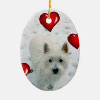 Westie personalised hanging decoration christmas ceramic oval decoration