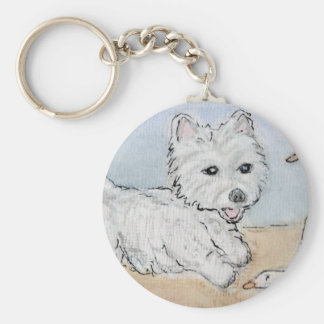 WESTIE PLAYING ON BEACH KEY RING