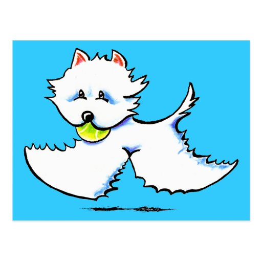 Westie Playtime Off-Leash Art™ Post Cards
