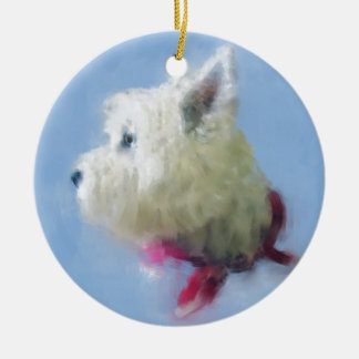 WESTIE PONDERS CHRISTMAS ORNAMENT