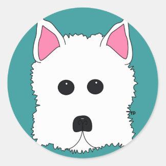 Westie Portrait Classic Round Sticker