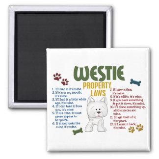 Westie Property Laws 4 Square Magnet
