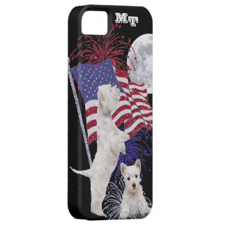 Westie Puppy American Flag, Full Moon & Fireworks Barely There iPhone 5 Case