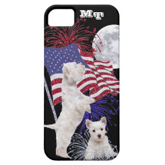 Westie Puppy American Flag, Full Moon & Fireworks iPhone 5 Cover