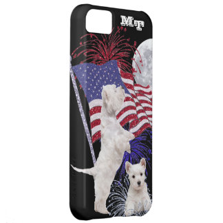 Westie Puppy American Flag, Full Moon & Fireworks iPhone 5C Case