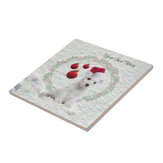 Westie Puppy Christmas Ceramic Tile Customize It!