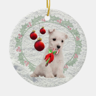 Westie Puppy Hugs & Kisses &Warm Christmas Wishes Christmas Ornament