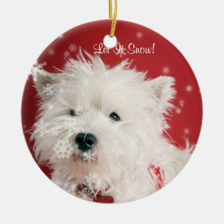 Westie Puppy Let It Snow! Ornament #2