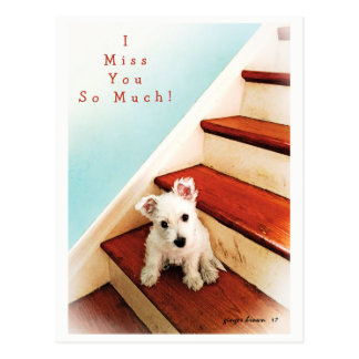 Westie Puppy On Step Missing You! #2 Postcard